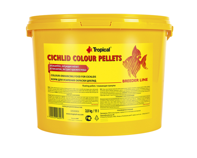 "Корм для рыб ""Tropical"" BL Cichlid Colour pellets with astaxanthin 11л/3,8кг, ведро, гранулы д/цихл"