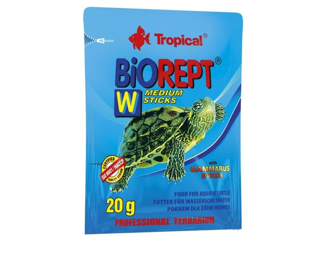 "Корм для черепах ""Tropical"" ST Biorept W   20г, палочки, для плотоядных земноводн. и водян. черепах"